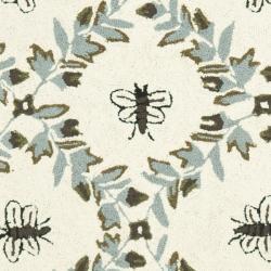 Safavieh Hand-hooked Bees Ivory/ Blue Wool Rug (2'6 x 12') - Thumbnail 2