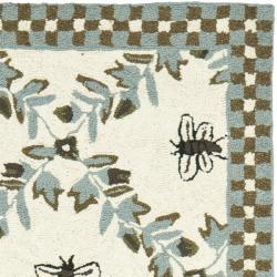 Safavieh Hand-hooked Bees Ivory/ Blue Wool Rug (2'6 x 6') - Thumbnail 1