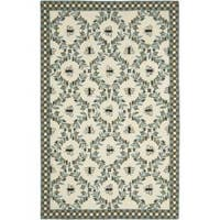 Safavieh Hand-hooked Bees Ivory/ Blue Wool Rug - 6' x 9'