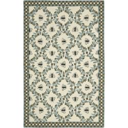 Safavieh Hand-hooked Bees Ivory/ Blue Wool Rug (7'6 x 9'9)