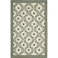 "Safavieh Hand-hooked Bees Ivory/ Blue Wool Rug - 7'-9"" x 9'-9"""