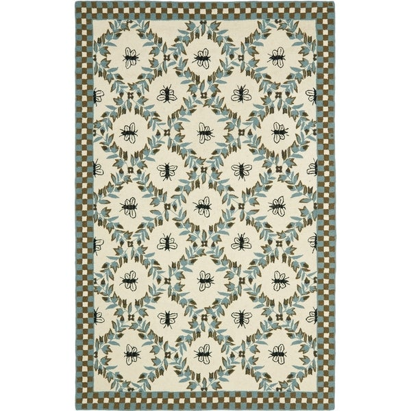 "Safavieh Hand-hooked Bees Ivory/ Blue Wool Rug - 8'9"" x 11'9"""