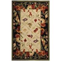 Safavieh Hand-hooked Roosters Ivory/ Black Wool Rug - 3'9 x 5'9