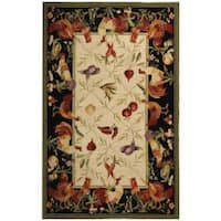 Safavieh Hand-hooked Roosters Ivory/ Black Wool Rug - 6' x 9'