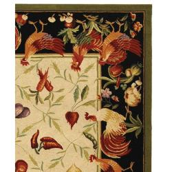Safavieh Hand-hooked Roosters Ivory/ Black Wool Rug (8'9 x 11'9) - Thumbnail 1