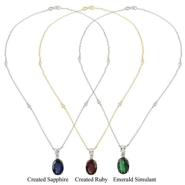 Glitzy Rocks Sterling Silver Lab-created Gemstone Necklace