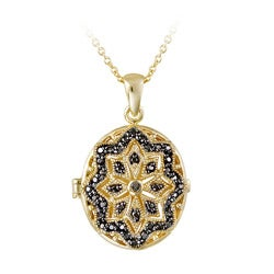 DB Designs Goldplated Black Diamond Accent Star Design Oval Locket Necklace