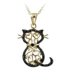 DB Designs 18k Gold over Silver Black Diamond Accent Filigree Cat Necklace