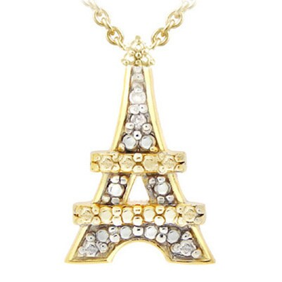 Shop db designs 18k gold and silver diamond accent eiffel tower db designs 18k gold and silver diamond accent eiffel tower necklace mozeypictures Image collections