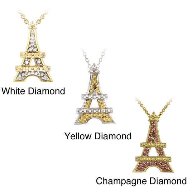 DB Designs 18k Gold and Silver Diamond Accent Eiffel Tower Necklace