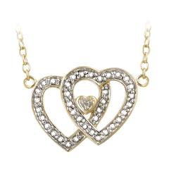 DB Designs 18k Gold over Silver Diamond Accent Double Heart Necklace