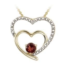 Glitzy Rocks 18k Gold over Silver Garnet and Diamond Accent Heart Necklace