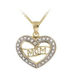 DB Designs 18k Gold over Silver Diamond Accent 'Mom' Heart Necklace