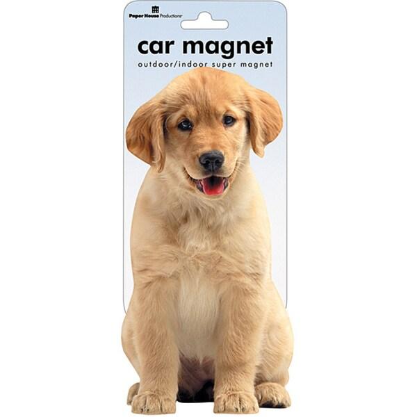 Paper House Golden Retriever Puppy Car Magnet