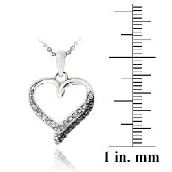DB Designs Sterling Silver 1/10ct TDW Black and White Diamond Heart Necklace (J, I3) - Thumbnail 2