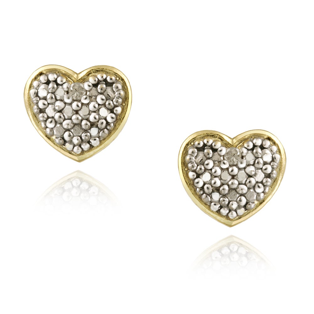 DB Designs 18k Gold over Silver White Diamond Accent Heart Earrings