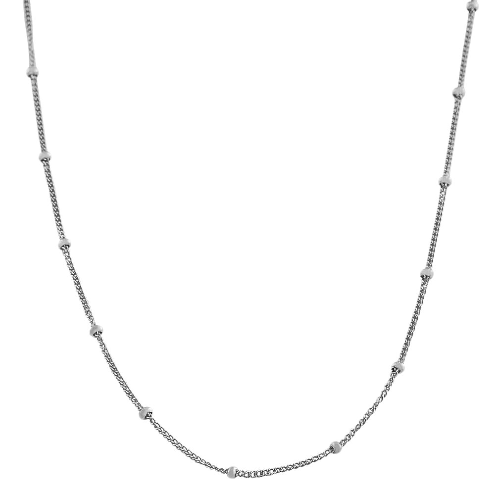 Fremada Rhodium-plated Silver 24-inch Saturn Curb Chain