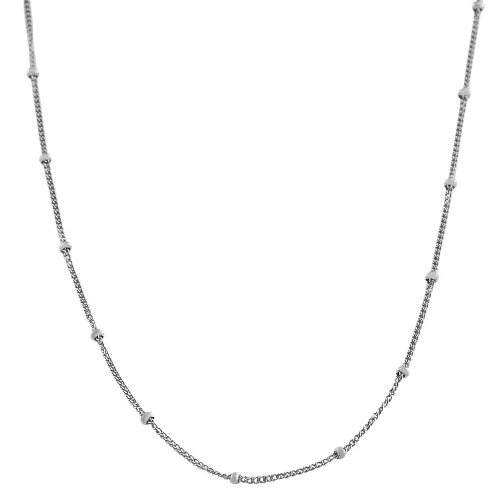Fremada Rhodium-plated Silver 16-inch Saturn Curb Chain