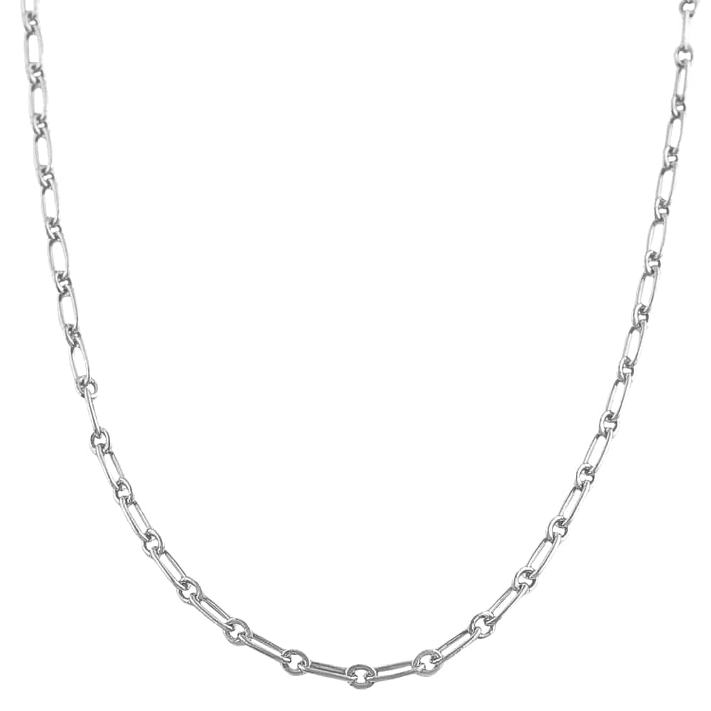 Fremada Rhodium-plated Silver 16-inch Polished Alternate Link Chain