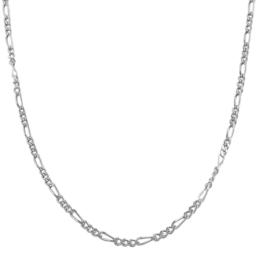 Fremada Rhodium-plated Sterling Silver 24-inch Figaro Chain