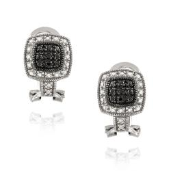 DB Designs Sterling Silver Black Diamond Accent Square Earrings