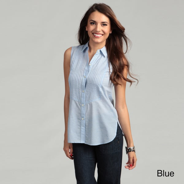 Adam Women's Pleated Button Front Collared Top