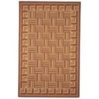 Safavieh Hand-hooked Squares Beige Wool Rug - 5'3 x 8'3