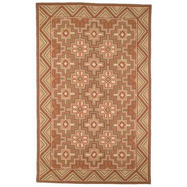 Safavieh Hand-hooked Maze Beige Wool Rug - 7'6 x 9'9