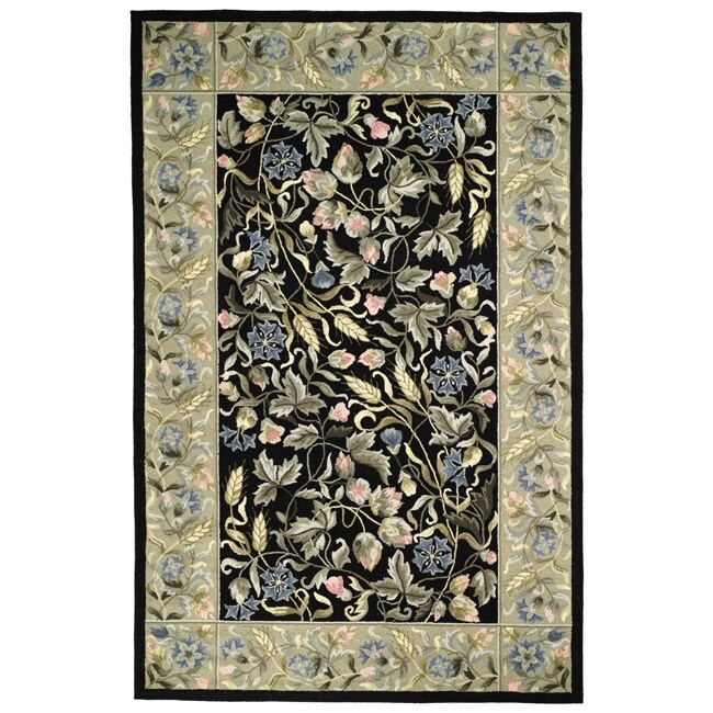 "Safavieh Hand-Hooked Garden Black Virgin-Wool Rug (5'3"" x 8'3"")"