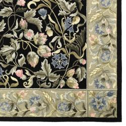 "Safavieh Hand-Hooked Garden Black Virgin-Wool Rug (5'3"" x 8'3"") - Thumbnail 1"