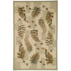 Safavieh Hand-hooked Ferns Ivory/ Green Wool Rug (3'9 x 5'9)