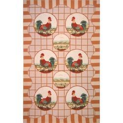 Safavieh Hand-hooked Rooster Beige Wool Rug (5'3 x 8'3)