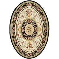 "Safavieh Hand-hooked Aubusson Ivory/ Black Wool Rug - 7'6"" x 9'6"" oval"