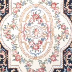 Safavieh Hand-hooked Aubusson Black Wool Rug (7'6 x 9'9)