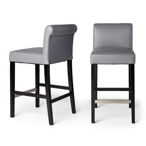 Cosmopolitan Grey Leather Counter Stool (Set of 2) - Free Shipping Today - Overstock.com - 14211458  sc 1 st  Overstock.com & Cosmopolitan Grey Leather Counter Stool (Set of 2) - Free Shipping ... islam-shia.org