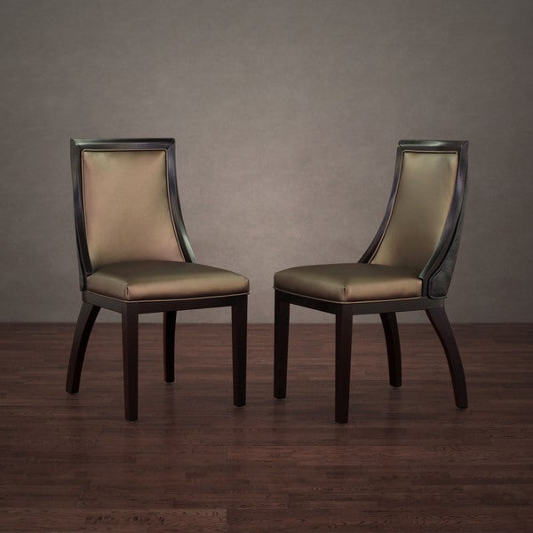 Park Avenue Black Croco/ Bronze Leather Dining Chair (Set of 2)