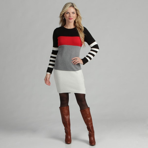 Jessica Howard Women's Colorblock Sweater Dress