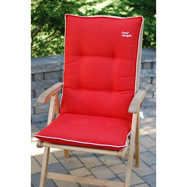 Red High Back Recliner Patio Chair Cushions Set Of 2