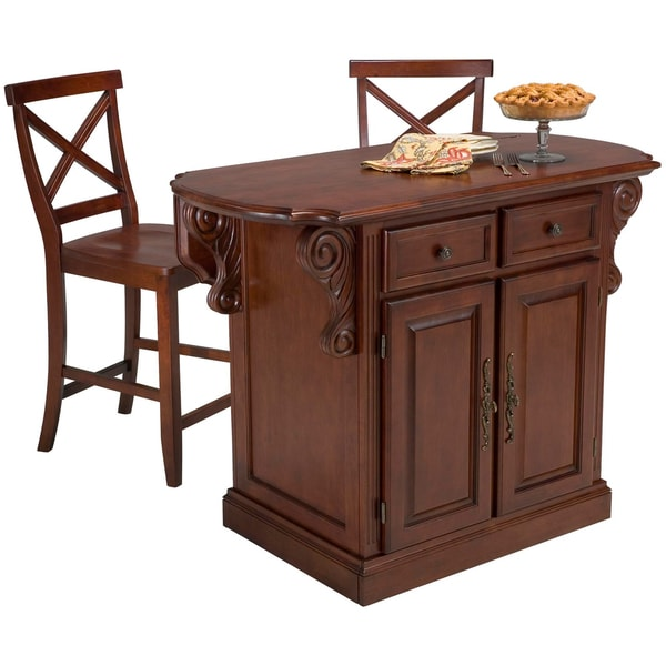 Traditions Cherry Kitchen Island and Two Stools Set