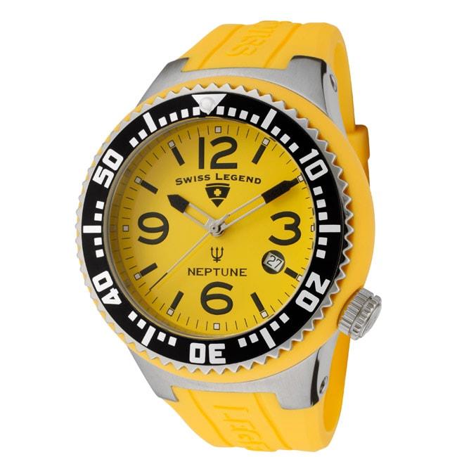 Swiss Legend Men's 'Neptune' Yellow Silicone Watch