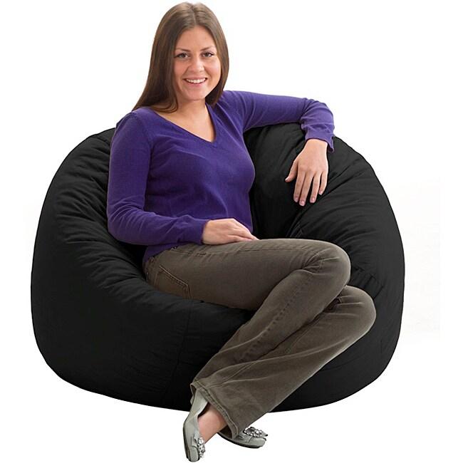 FufSack Black Twill Bean Bag Chair