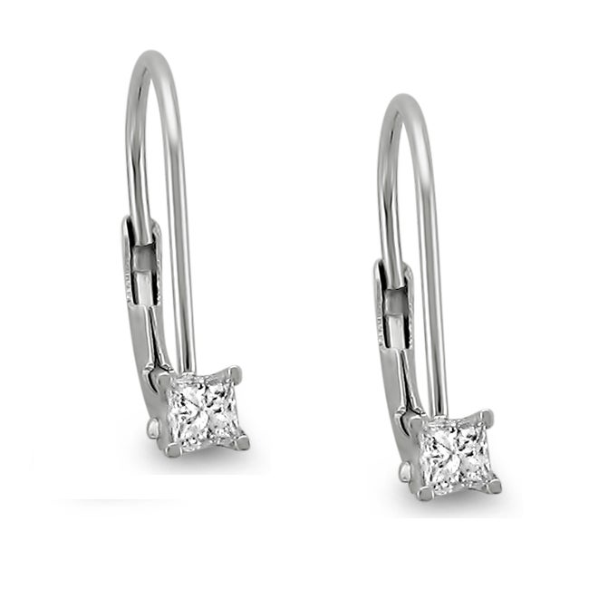 Montebello 14k White Gold 1/5ct TDW Princess Diamond Leverback Earrings (I-J, SI2)