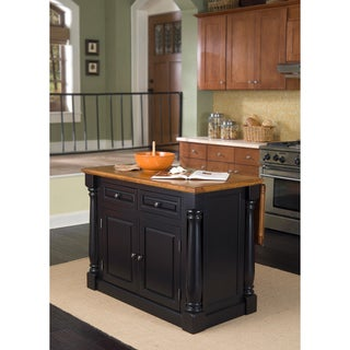 Gracewood Hollow Verne Distressed Black & Oak Finish Kitchen Island