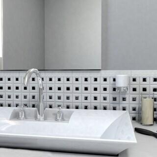 SomerTile 11.75x11.75 Chic Frames White and Black Porcelain Mosaic Tiles (Case of 10)