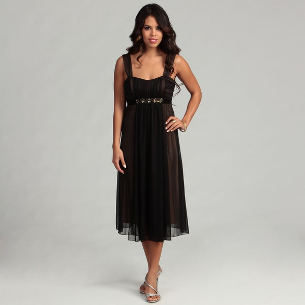 Connected Apparel Women's Black/ Gold Beaded Dress FINAL SALE
