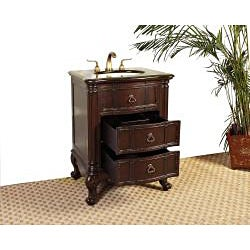 Marble Top 26-inch Single Sink Bathroom Vanity - Thumbnail 1