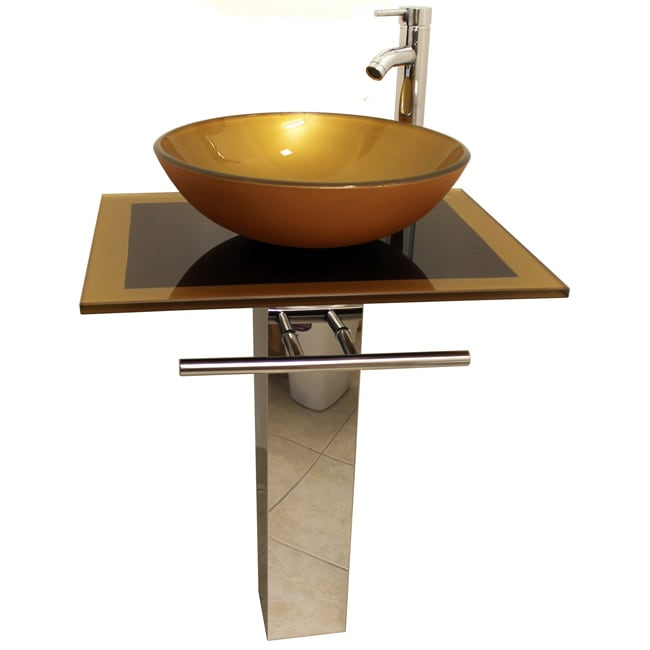 Mustard Gold 23-inch Glass Vessel Bathroom Vanity - Thumbnail 0
