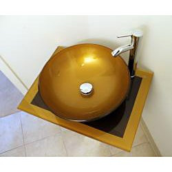 Mustard Gold 23-inch Glass Vessel Bathroom Vanity - Thumbnail 1