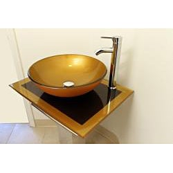 Mustard Gold 23-inch Glass Vessel Bathroom Vanity - Thumbnail 2