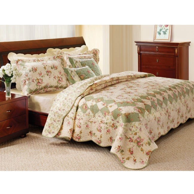 Greenland Home Fashions Bliss Ivory 5-Piece King-size Quilt Set ... : overstock quilts king - Adamdwight.com